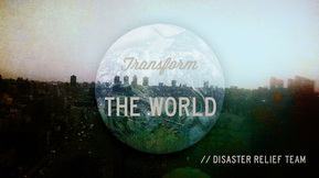 Picture of an urban landscape with the globe over. Transform the World words. Copyright Megan watson